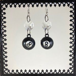 Vintage Dead Stock 8 Ball Plastic Charm Earrings
